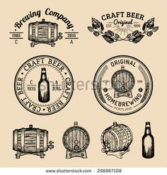 Old brewery logos set. Kraft beer retro signs or icons with hand sketched glass, barrel, bottle, brewing plants.  Vector vintage homebrewing labels or badges.
