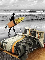 Wall Mural Decal Sticker Surfer - Feel the tropical breeze with this cool surfer/preppy look. This bed in a bag set has a plaid and palm tree design print on the comforter and sham face. This great design brings trendy fashion to any room. Includes comforter, sham and printed sheet set.