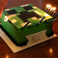 Mind craft cake- twins party?