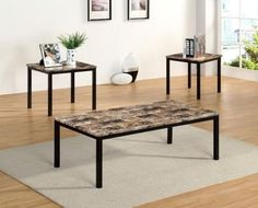 The Room Style 3pc coffee table set makes a regal centerpiece to your new living room or den collection. Featuring an alluring black #faux marble top polished to...