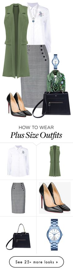 """fm #405"" by u-929 on Polyvore featuring Equipment, WearAll, Michael Kors, Fendi, Christian Louboutin, Skagen and plus size clothing"