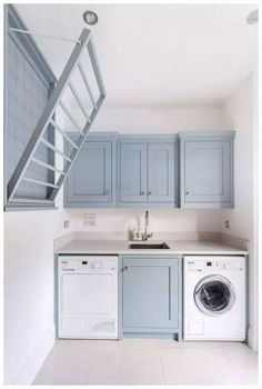 Laundry Room Design Inspiration Bright laundry room with. - Laundry Room Design Inspiration Bright laundry room with pale blue cabinetr - Laundry Room Layouts, Laundry Room Remodel, Laundry Room Cabinets, Small Laundry Rooms, Laundry Room Organization, Laundry Room Design, Laundry In Bathroom, Organization Ideas, Laundry Decor