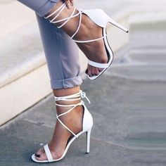 Shoespie Simply White Lace Up Dress Sandals #Sandals #Heels #shoespie #sandalsheelswedding