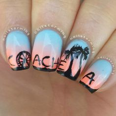 Recreation of Coachella nails on a dusky gradient background. Acrylic Nail Art, Glitter Nail Art, Gel Nail Art, Gel Manicure, Nail Polish, Crazy Nail Art, Crazy Nails, Music Nails, Nailart