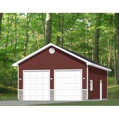 30x26 2-Car Garages 780 sq ft 12ft Walls PDF Floor   Etsy Garage Building Plans, 2 Car Garage Plans, Garage Ideas, Yard Ideas, Detached Garage Designs, Detached Garage Plans, Pole Barn Garage, Pole Barns, Metal Garages