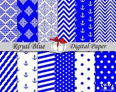 Royal Blue digital paper Blue damask Royal blue chevron by DIGIFT