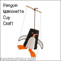 Dancing Penguin Puppet craft for kids
