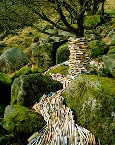 Norwegian artist Rune Guneriussen is working in the transition between installation and photography. As a conceptual artist he works site specific, primarily in nature and creates beautiful light installations with old lamps or books. Land Art, Art Conceptual, Surreal Art, Book Art, Art Environnemental, Buch Design, Outdoor Art, Environmental Art, Altered Books