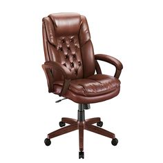 Realspace Caldwell Executive High Back Bonded Leather Chair Chestnut fice DepotBonded