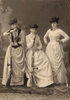 women with rifles, circa 1890 Take a note ladies, we can still look good holding anything. Right to bare arms,,,, yes!
