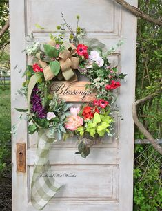 Spring Door Wreath, Spring Wreath, Blessings Sign, Colorful Wreath, Spring Door Decor, Spring Porch Decor, Garden Wreath, Handmade by FeatheredNestWreaths on Etsy https://www.etsy.com/listing/601124963/spring-door-wreath-spring-wreath