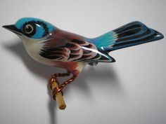 TAKAHASHI Female Bluebird  Hand Carved and Painted with by Cleoras, $325.00