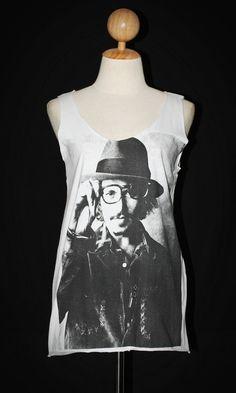 Johnny Depp Artist Icon White And Polka Dot Tank Top Sleeveless Mini Dress Women Rock T-Shirt Size M-L