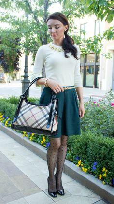 Sugared Lemon burberry handbag and polka dot tights