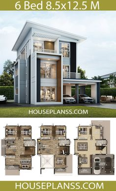 House plans idea with 6 bedrooms - House Plans Sam 6 Bedroom House Plans, Modern House Floor Plans, House Plans Mansion, Sims House Plans, House Layout Plans, Dream House Plans, House Layouts, 2 Storey House Design, Bungalow House Design