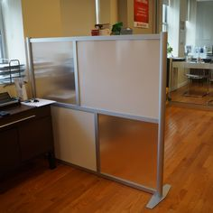 "60"" wide x 51"" high Office Partition, Translucent White & Frosted Hammered Freeze Panels, Model SW6051-2"