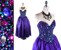Vintage 80s Prom Gown  // 1980s Prom Gown // AMAZING Heavily Jeweled Dress // Oleg Cassini Dress // Strapless Prom Dress - sz M - 30 Waist by SwellFarewell on Etsy https://www.etsy.com/listing/257020860/vintage-80s-prom-gown-1980s-prom-gown