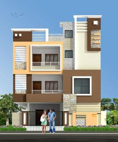 Two Floors House Gates In 2019 House Elevation House House Design