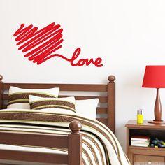 Stickers muraux pour chambre - Sticker mural amour de coeur de griffonnage | Ambiance-sticker.com
