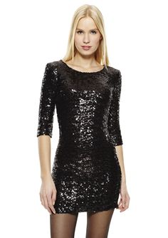 Neva Sequined Fitted Dress Cocktail dress; Three-quarter sleeves and scoop neckline; Features allover sequin design; Flattering seam details; Hidden back zip closure; Fully lined Dress #ZipclosureWomen #Dresses