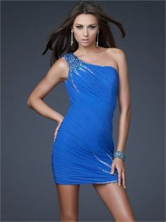 Elegant One Shoulder Ruched Beaded Short Prom Dress PD10680