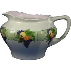 "Jean Pouyat (JP) Limoges Arts & Crafts Fruit Motif Cider Pitcher (Signed ""M.E. Murphy""/c.1908-1920)"