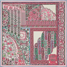 "Tapis Persans (pink/green/ivory) | 16""x16"" pocket square. I love the pink and green, but is the ivory too warm?"