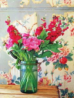 Pickering Hill:  Fresh flowers in jar with old fashioned wall paper
