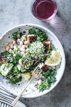 Lemony kale, white bean, & avocado detox salad with charred tempeh & quinoa! A quick & easy vegan recipe! High protein, gluten free, & healthy!