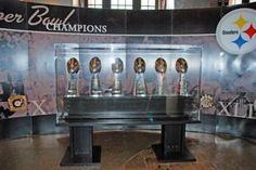 Steelers' Six Super Bowl Trophies Pittsburgh, PA Here We Go Steelers, Steelers Football, Super Bowl Rings, Pittsburgh Sports, Steeler Nation, Kids Events, Great Pictures, Black N Yellow, 4 Life