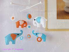 Elephant Mobile - Baby Crib Mobile - Polka Dot Mobile - Ocean Blue Orange White Elephants w/ modern circles design (U can pick your colors)