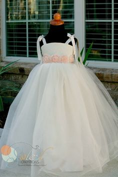 Flower Girl Dress Ivory Blush pink Vintage Rosette Accents. on Etsy, $89.99