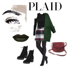 """""""#plaid"""" by dress-like-your-going-out-out ❤ liked on Polyvore featuring Express, Abercrombie & Fitch, WithChic and Rituel de Fille"""