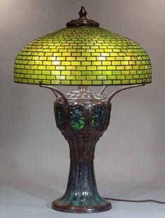 "22"" GEOMETRIC DOME TIFFANY LAMP & TURTLEBACK MOSAIC BASE #355"