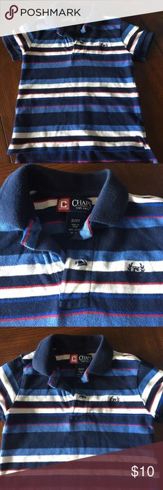 Kids Chaps Polo Little man shirt! Polo by Chaps.  Blues and red.  This is the cutest! 💕  size 2t and is in great shape! Chaps Shirts & Tops Polos