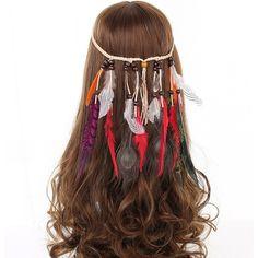 Wish - Shopping Made Fun Feather Headband, Feather Jewelry, Boho Headband, Headbands, Halloween Headband, Halloween Hair, Women Halloween, Headdress, Headpiece