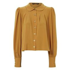 Scallop Collar Blouse ❤ liked on Polyvore featuring tops, blouses, button top, scalloped blouse, collar blouse, scallop top and brown blouse