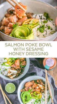 This Salmon Poke Bowl is the perfect recipe for an easy homemade lunch! Light yet nutritious and topped with a Sesame Honey dressing sauce. Packed with protein and good flavors! You can always switch salmon for the fish of your choice if you prefer. Salmon Poke Bowl Recipe, Poke Recipe, Poke Sauce Recipes, Poke Sushi Bowl, Sushi Sushi, Sushi Rolls, Lunch Recipes, Dinner Recipes, Healthy Recipes