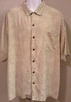 TOMMY BAHAMA 100 Silk Khaki Mens Shirt XL Relax Camp Embroidered Hawaiian Floral #TommyBahama #Hawaiian