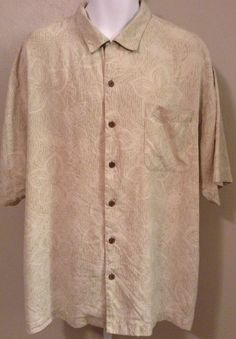 TOMMY BAHAMA 100 Silk Khaki Mens Shirt XL Relax Camp Embroidered Hawaiian Floral #TommyBahama #Hawaiian