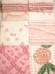 Ideas for vintage quilting patterns shabby chic chenille bedspread Granny Chic, Pretty In Pink, Chenille Bedspread, Chenille Blanket, Chenille Fabric, Linens And Lace, Everything Pink, Vintage Love, Vintage Pink