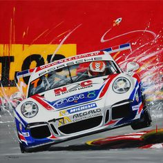 Merry Sparks painting of Warren Luff in No7 991GT3 at Gold Coast race 2014