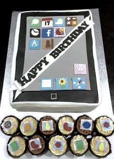Large iPad birthday cake with matching Candy crush themed cupcakes!  Based in Leek, Staffs, check out my website for prices & more ideas. Delivery available in Leek, Stoke area.
