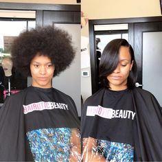 Before & after silk press on natural hair   www.hairoticbeauty.com