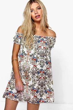 Reea Floral Print Off The Shoulder Dress