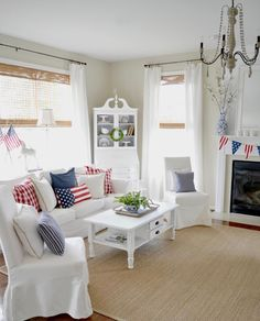 Happy of July, friends! 🇺🇸 I spread a little patriotism in our great room . next up, pumpkins! Happy 4 Of July, 4th Of July, Have A Great Day, Memorial Day, Great Rooms, Painted Furniture, Farmhouse Style, Interior, Instagram Posts