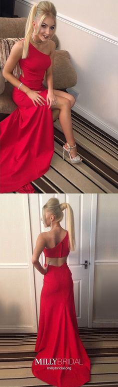 Red Prom Dresses Long, Sexy Evening Dresses With Slit, Simple Prom Dresses for Teens, Sheath/Column Formal Dresses One Shoulder
