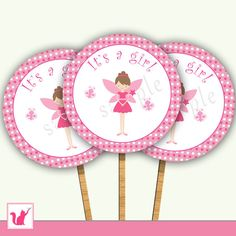 Printable Cute Pink Pixie Fairy Cupcake Toppers - Pink Polka Dots Circles Baby Girl Shower or Birthday Party Decoration