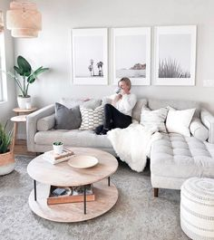 Plush back cushions and a tufted bench seat makes this ivory sectional sofa so sinkable you're in danger of never getting up. Sven birch ivory sectional sofa, we can't quit you. New Living Room, Living Room Interior, Living Room Apartment, White Couch Living Room, Modern Apartment Decor, Modern Living Room Decor, Apartment Furniture, Apartment Couches, Living Room With Sectional