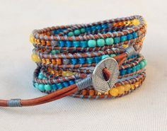 Wheat and Sky 5x wrap bracelet with Honey by TowerCreationsbyTC